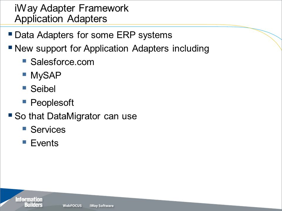iWay Adapter Framework Application Adapters
