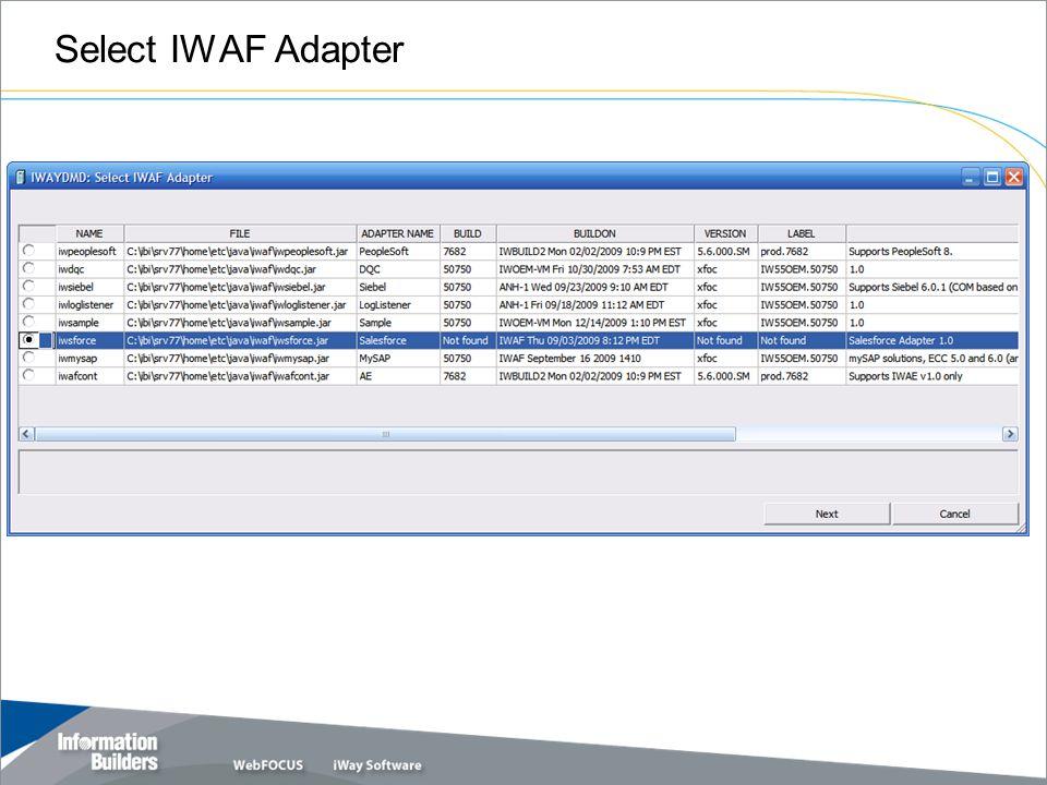 Select IWAF Adapter