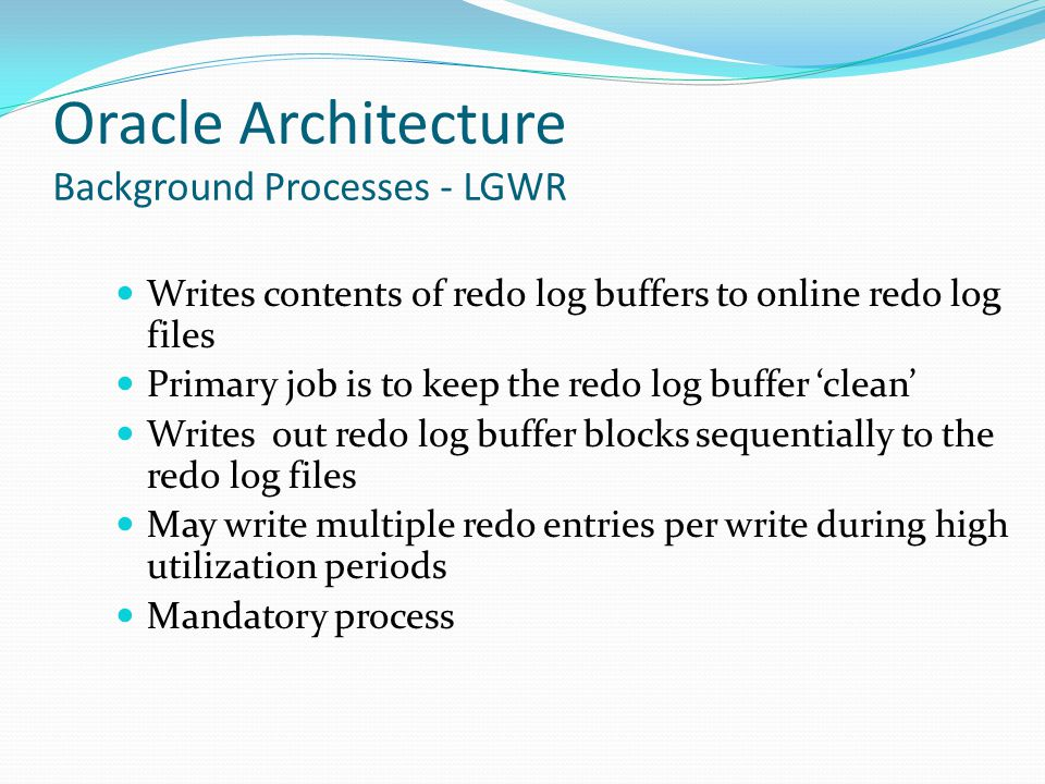 Oracle Architecture Background Processes - LGWR