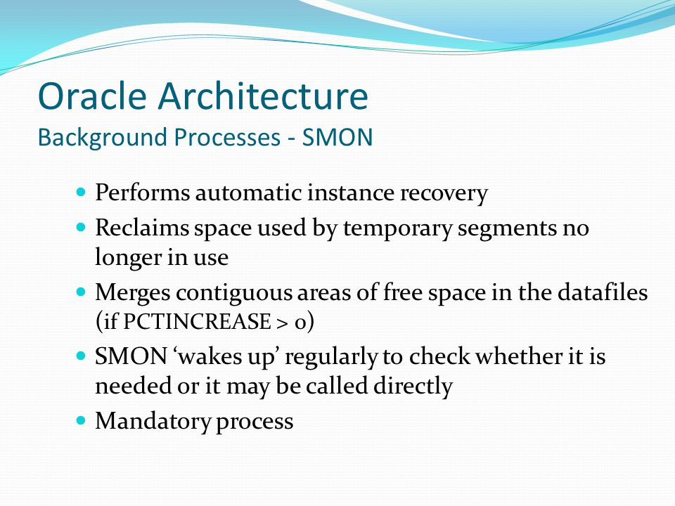 Oracle Architecture Background Processes - SMON