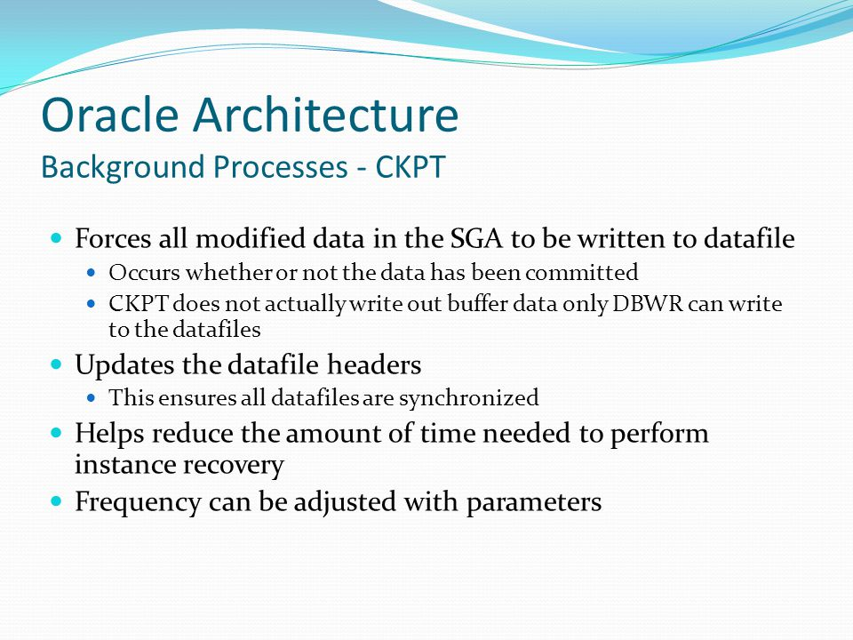 Oracle Architecture Background Processes - CKPT