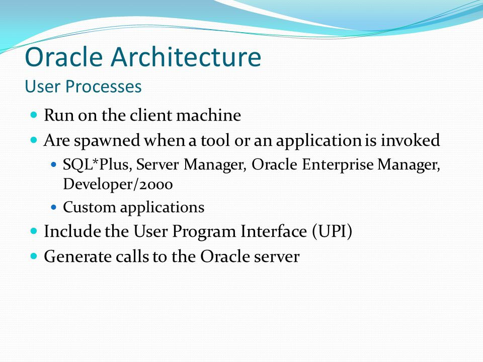 Oracle Architecture User Processes