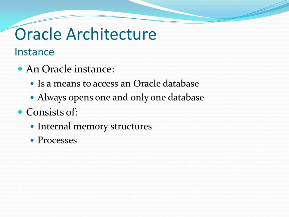 Oracle Architecture Instance