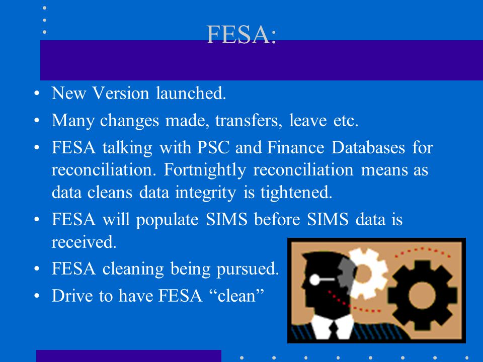 FESA: New Version launched. Many changes made, transfers, leave etc.