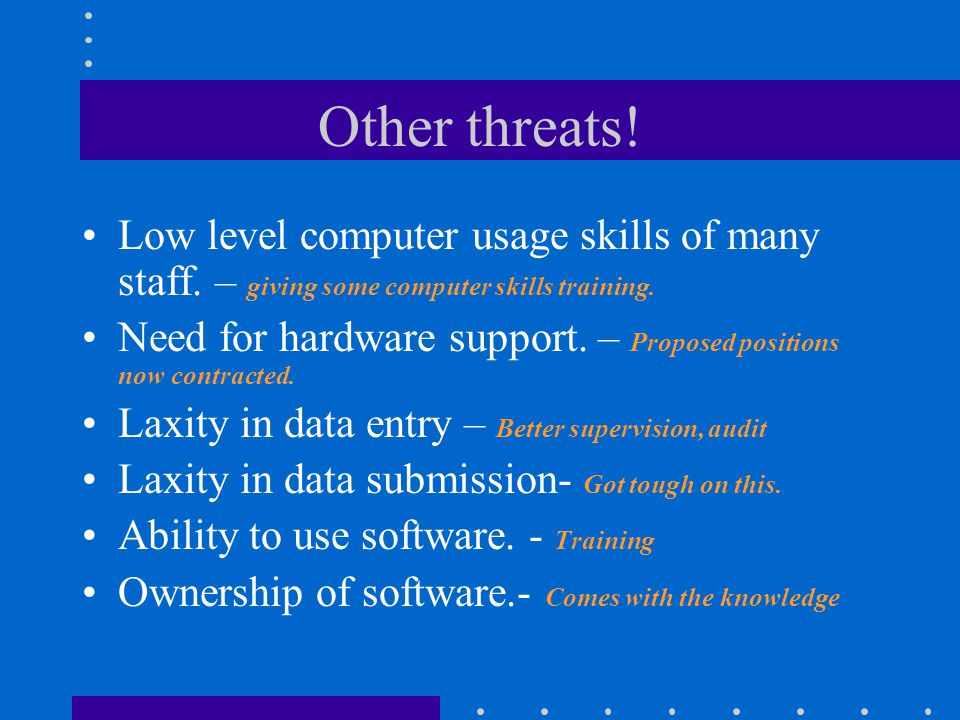 Other threats! Low level computer usage skills of many staff. – giving some computer skills training.