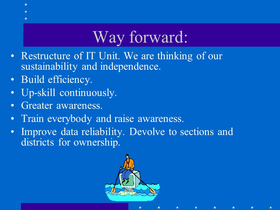 Way forward: Restructure of IT Unit. We are thinking of our sustainability and independence. Build efficiency.