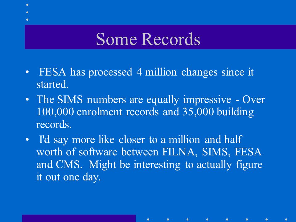 Some Records FESA has processed 4 million changes since it started.
