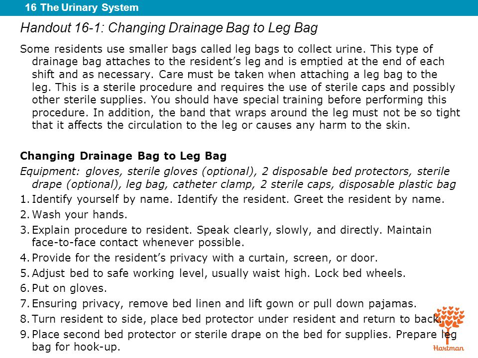Handout 16-1: Changing Drainage Bag to Leg Bag