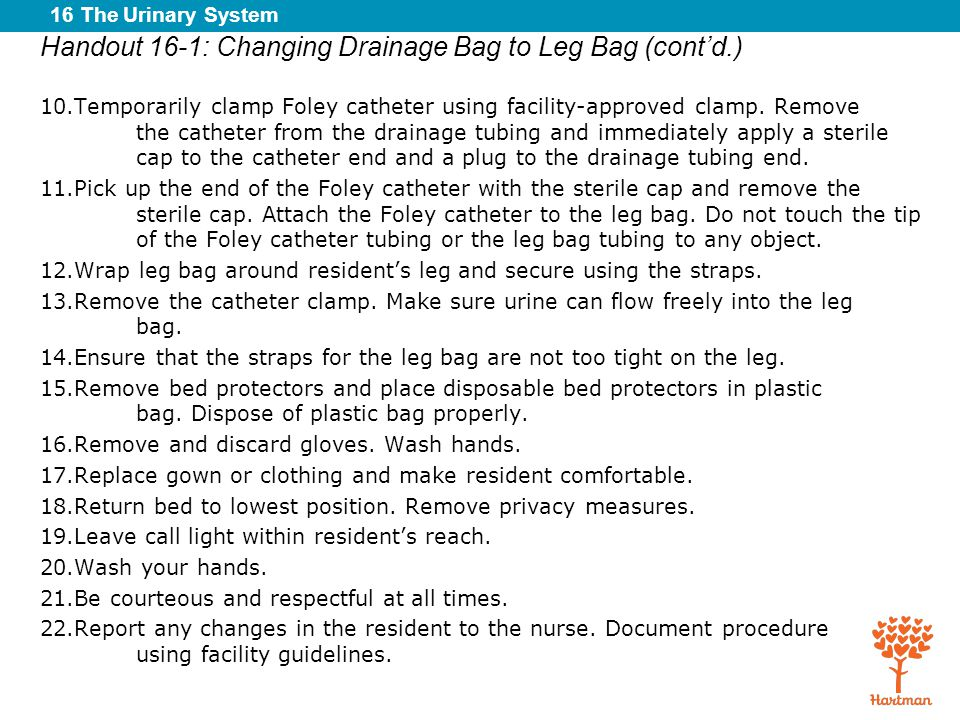 Handout 16-1: Changing Drainage Bag to Leg Bag (cont'd.)