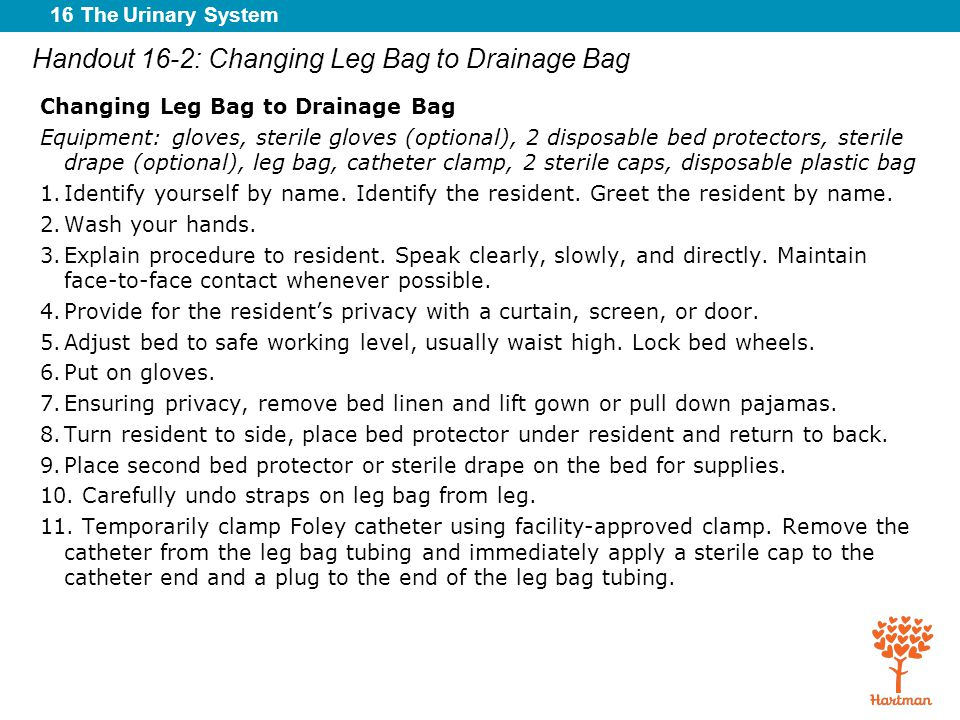 Handout 16-2: Changing Leg Bag to Drainage Bag