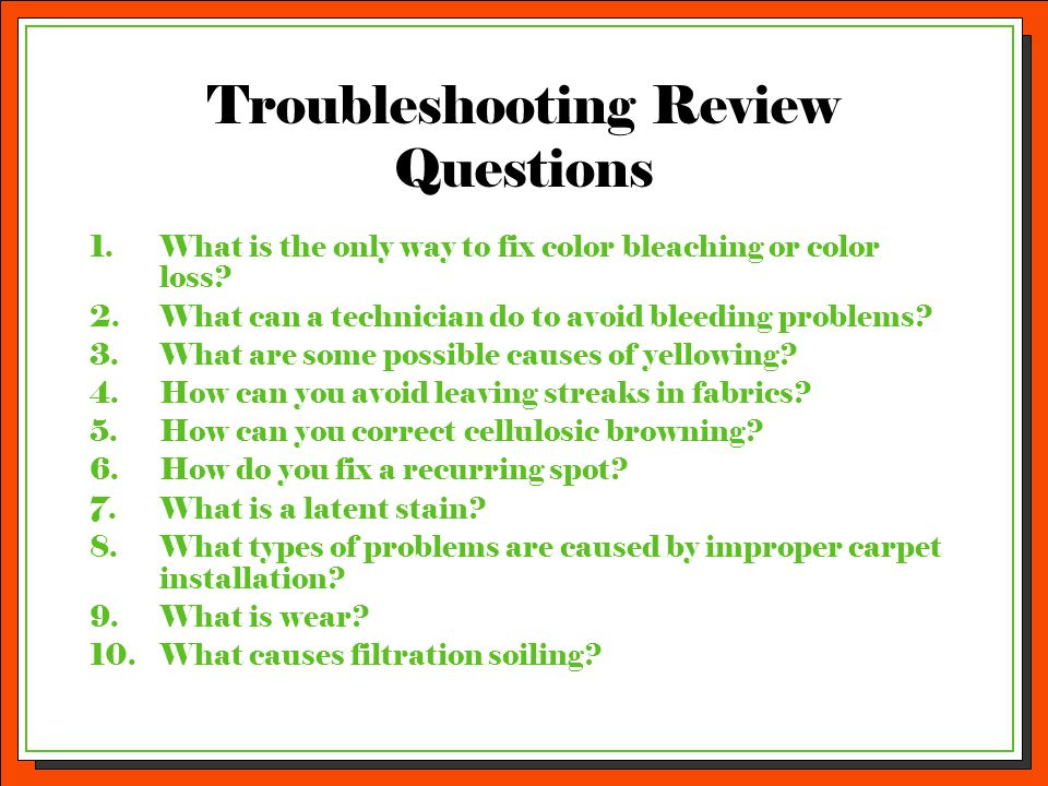 Troubleshooting Review Questions