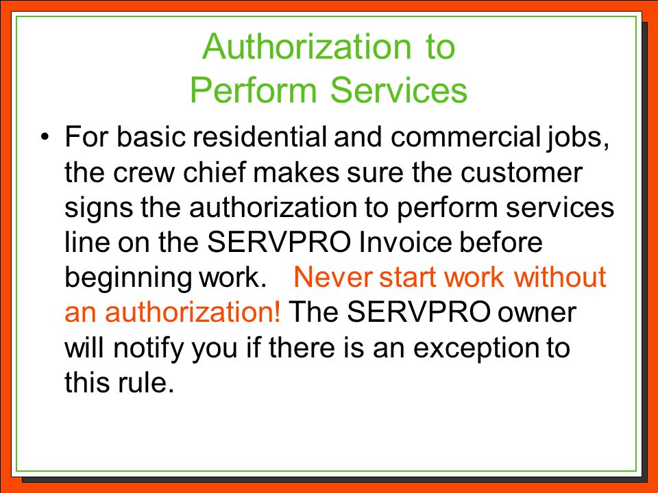 Authorization to Perform Services