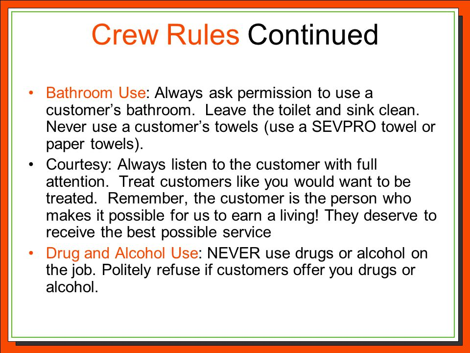 Crew Rules Continued