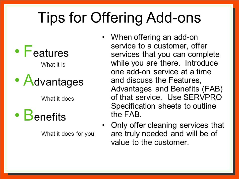 Tips for Offering Add-ons