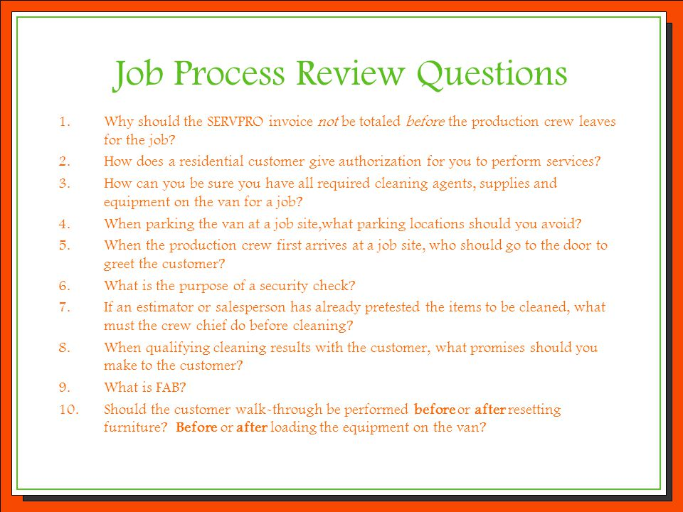 Job Process Review Questions