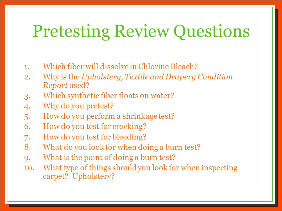 Pretesting Review Questions