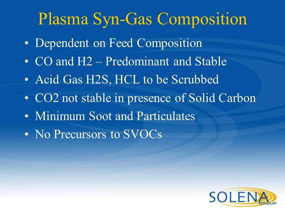 Plasma Syn-Gas Composition