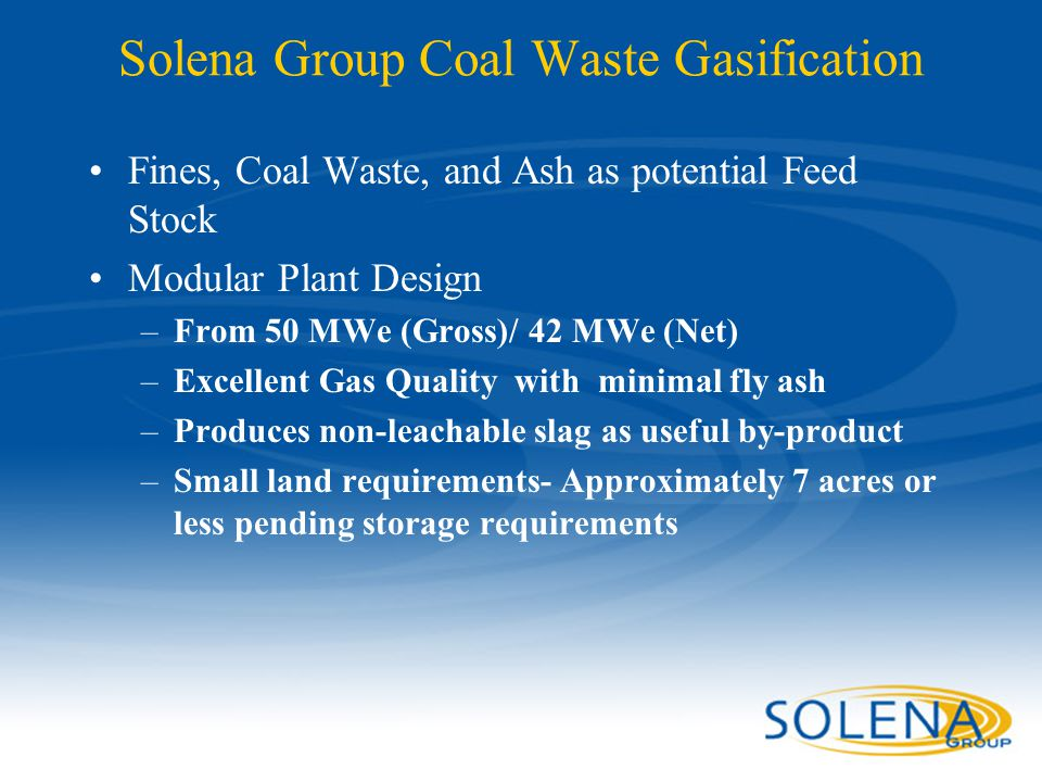 Solena Group Coal Waste Gasification