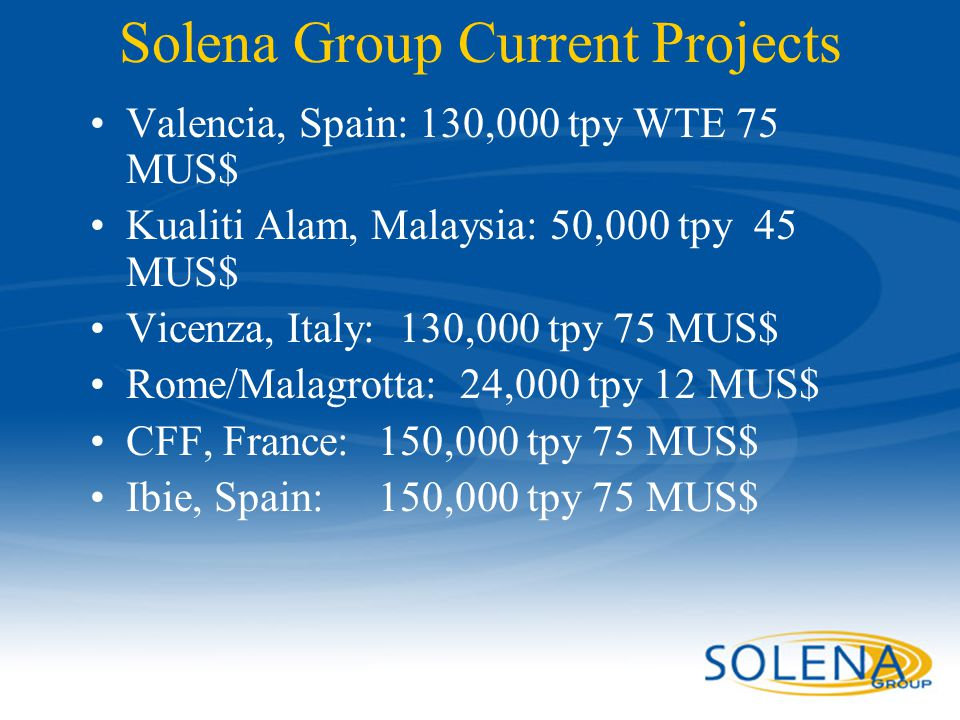 Solena Group Current Projects