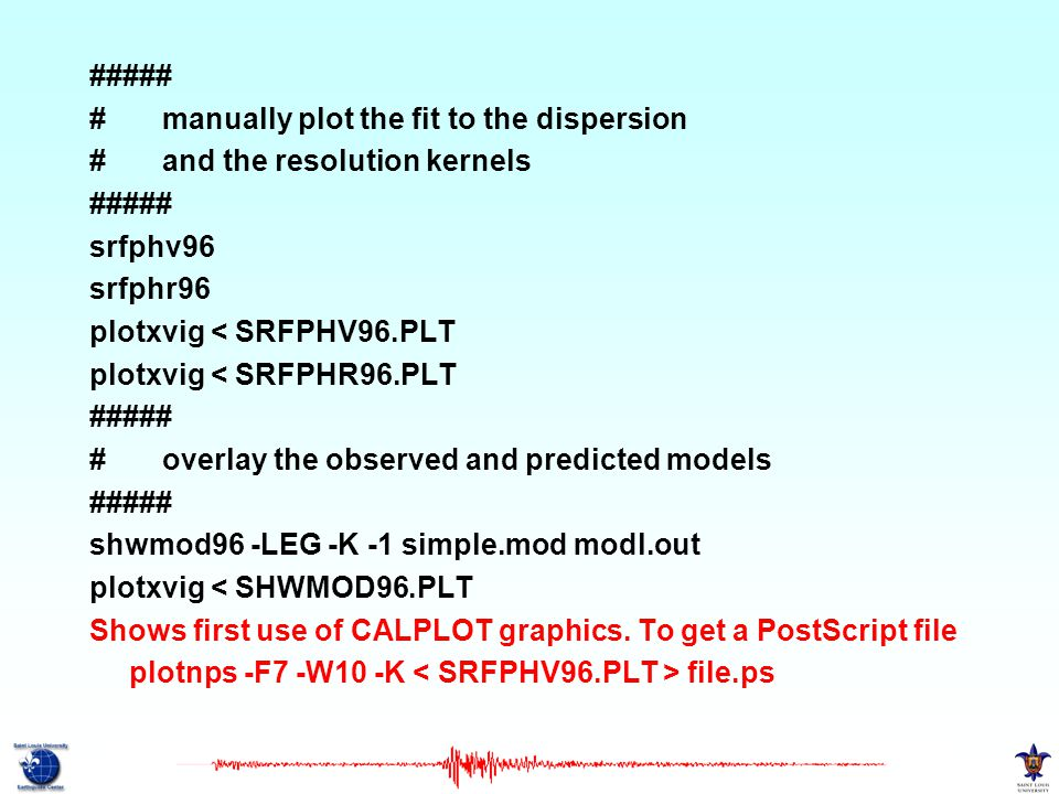 ##### # manually plot the fit to the dispersion. # and the resolution kernels. srfphv96.