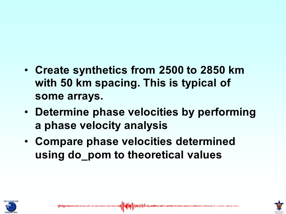 Create synthetics from 2500 to 2850 km with 50 km spacing