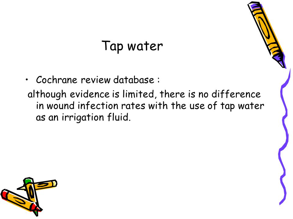 Tap water Cochrane review database :