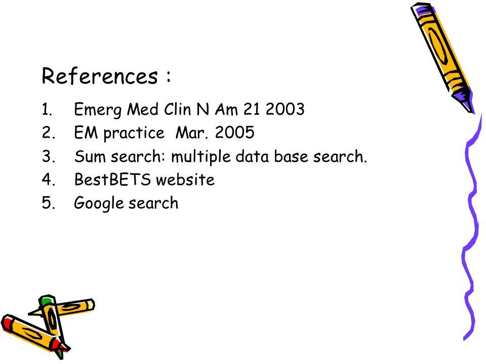References : Emerg Med Clin N Am 21 2003 EM practice Mar. 2005