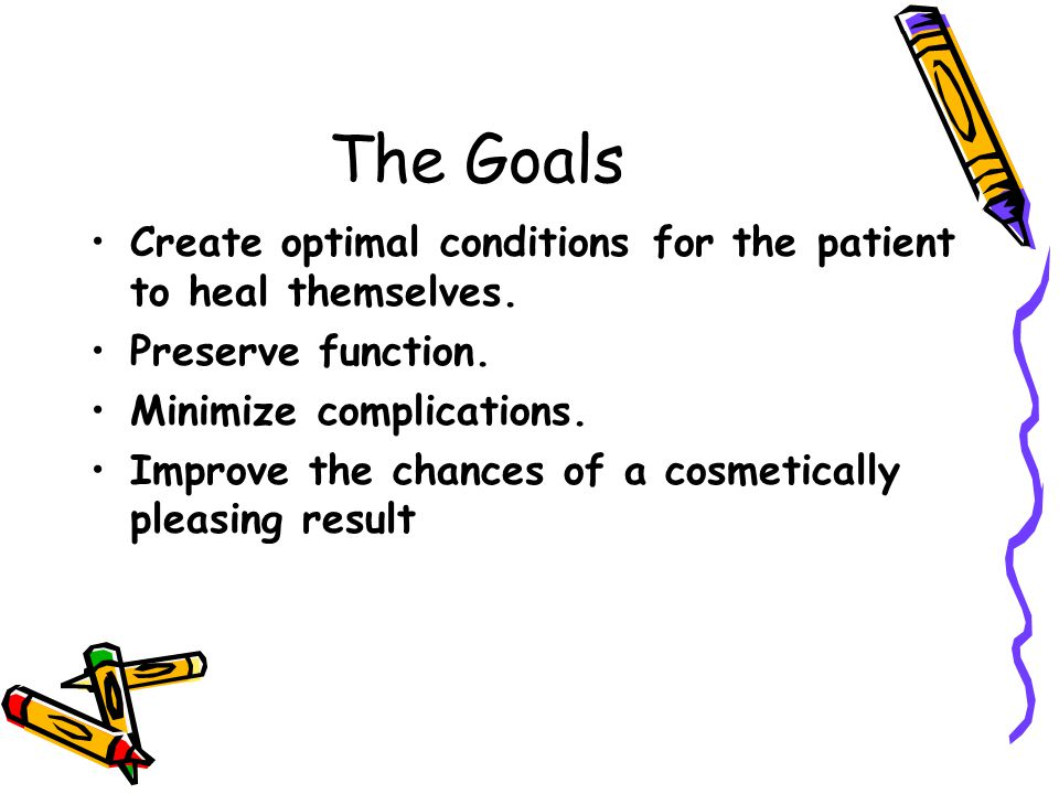 The Goals Create optimal conditions for the patient to heal themselves. Preserve function. Minimize complications.