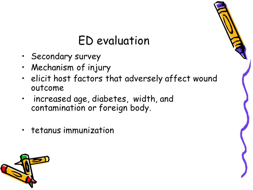 ED evaluation Secondary survey Mechanism of injury