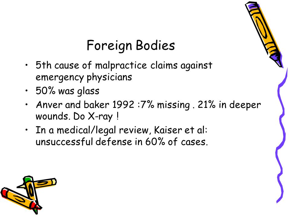 Foreign Bodies 5th cause of malpractice claims against emergency physicians. 50% was glass.