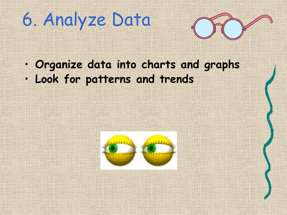 6. Analyze Data Organize data into charts and graphs