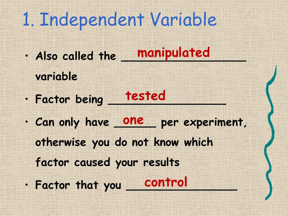 1. Independent Variable manipulated tested one control