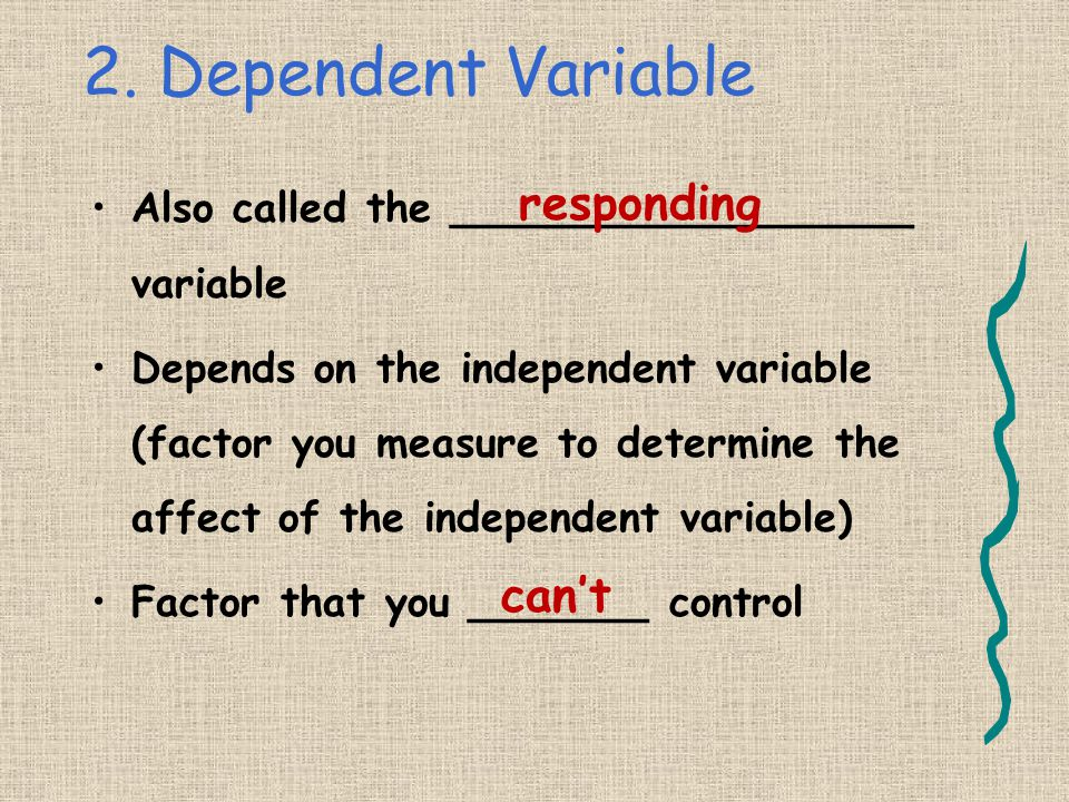 2. Dependent Variable responding can't