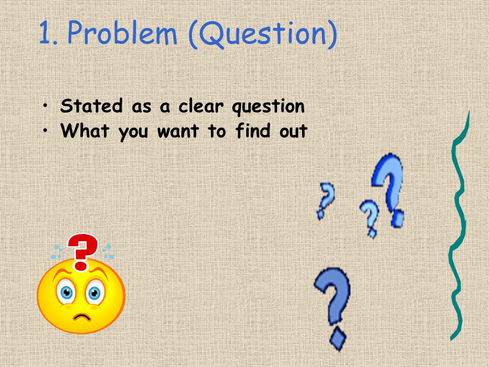 1. Problem (Question) Stated as a clear question
