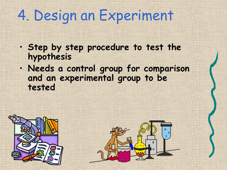 4. Design an Experiment Step by step procedure to test the hypothesis