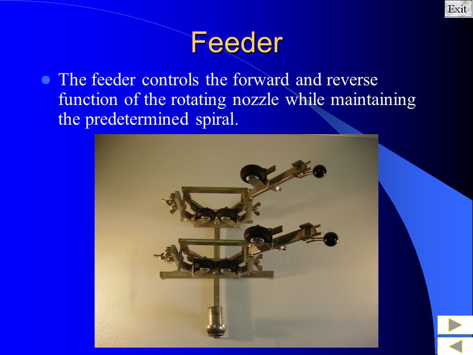 Feeder The feeder controls the forward and reverse function of the rotating nozzle while maintaining the predetermined spiral.