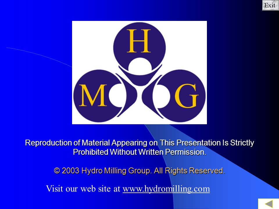 Visit our web site at www.hydromilling.com