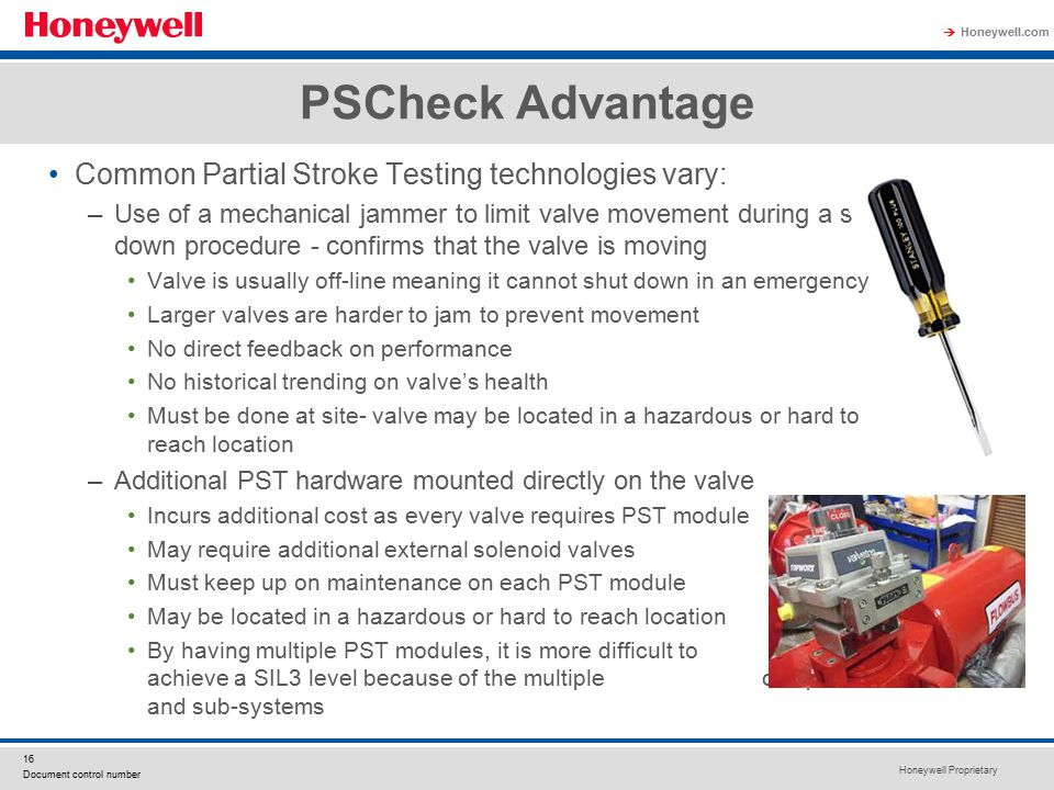 PSCheck Advantage Common Partial Stroke Testing technologies vary: