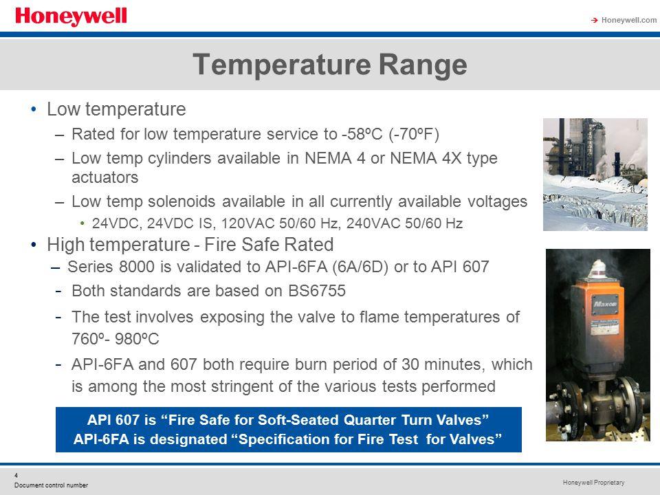 Temperature Range Low temperature High temperature - Fire Safe Rated