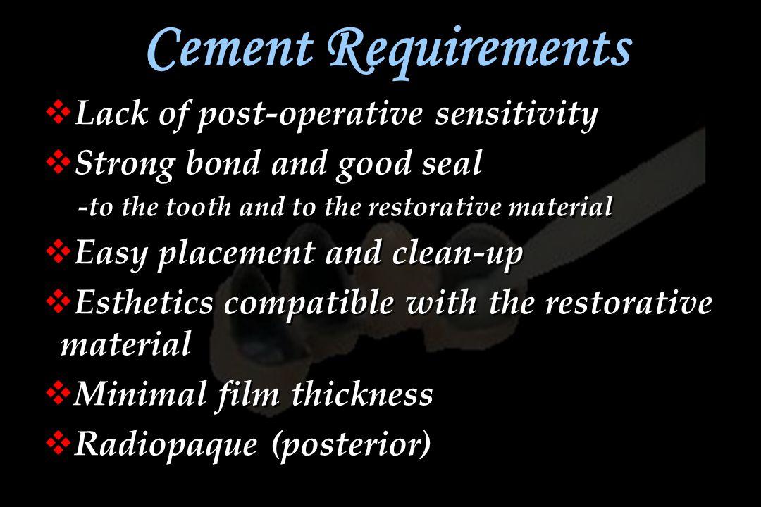 Cement Requirements Lack of post-operative sensitivity