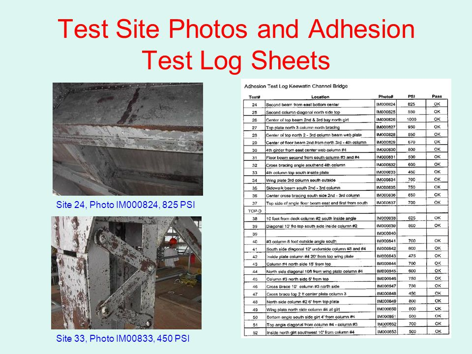Test Site Photos and Adhesion Test Log Sheets