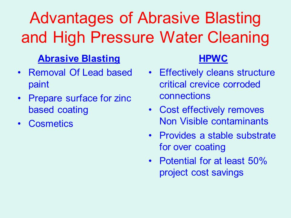 Advantages of Abrasive Blasting and High Pressure Water Cleaning