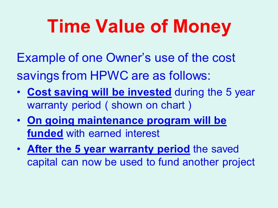 Time Value of Money Example of one Owner's use of the cost