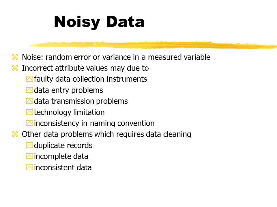 Noisy Data Noise: random error or variance in a measured variable