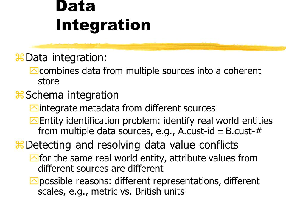 Data Integration Data integration: Schema integration
