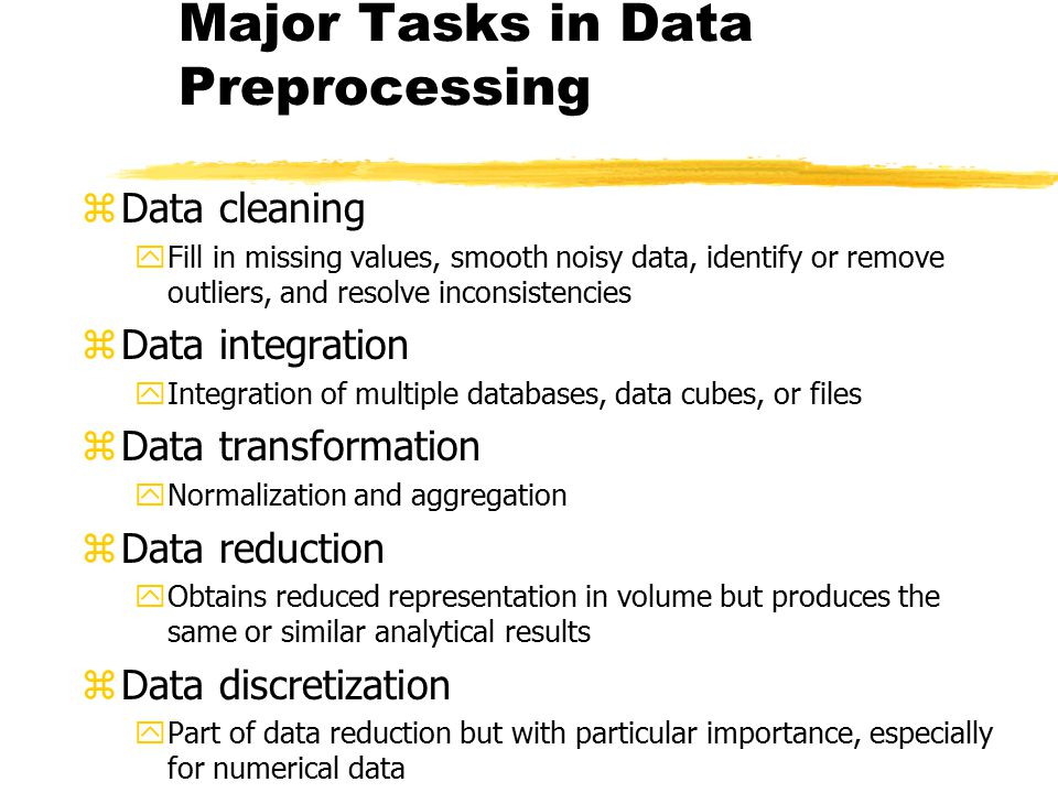 Major Tasks in Data Preprocessing