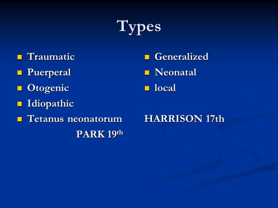 Types Traumatic Puerperal Otogenic Idiopathic Tetanus neonatorum