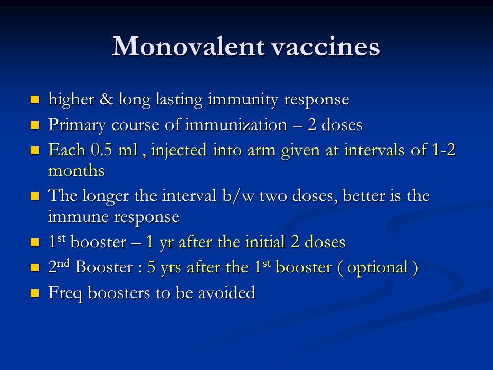 Monovalent vaccines higher & long lasting immunity response