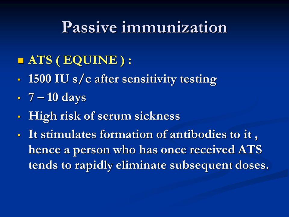 Passive immunization ATS ( EQUINE ) :