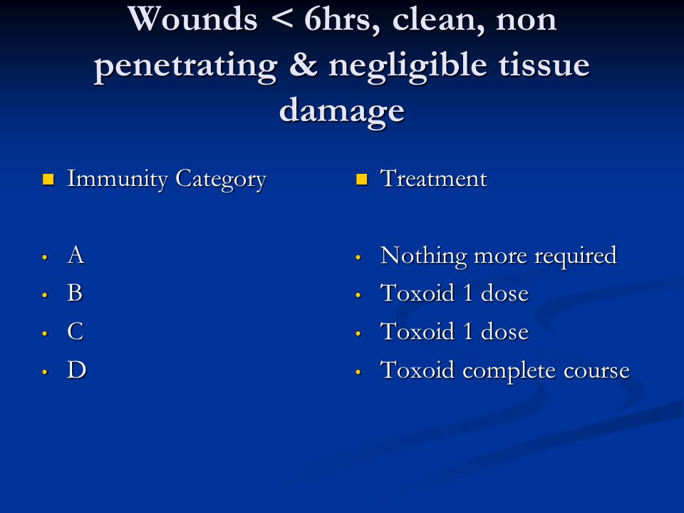 Wounds < 6hrs, clean, non penetrating & negligible tissue damage